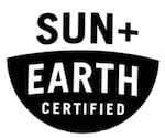 "Graphic badge reading ""Sun + Earth Certified'"